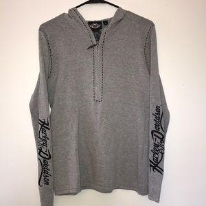 {Harley Davidson}Half Zip Hooded Pullover Medium